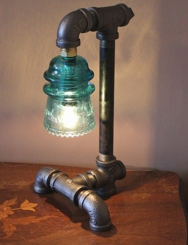"Industrial Style Pipe Lamp with Green Glass Insulator |  I don't like to say ""O M G"" .... this made me say it! lol I have about 14 insulators a friend from high school sent me as a gift!"
