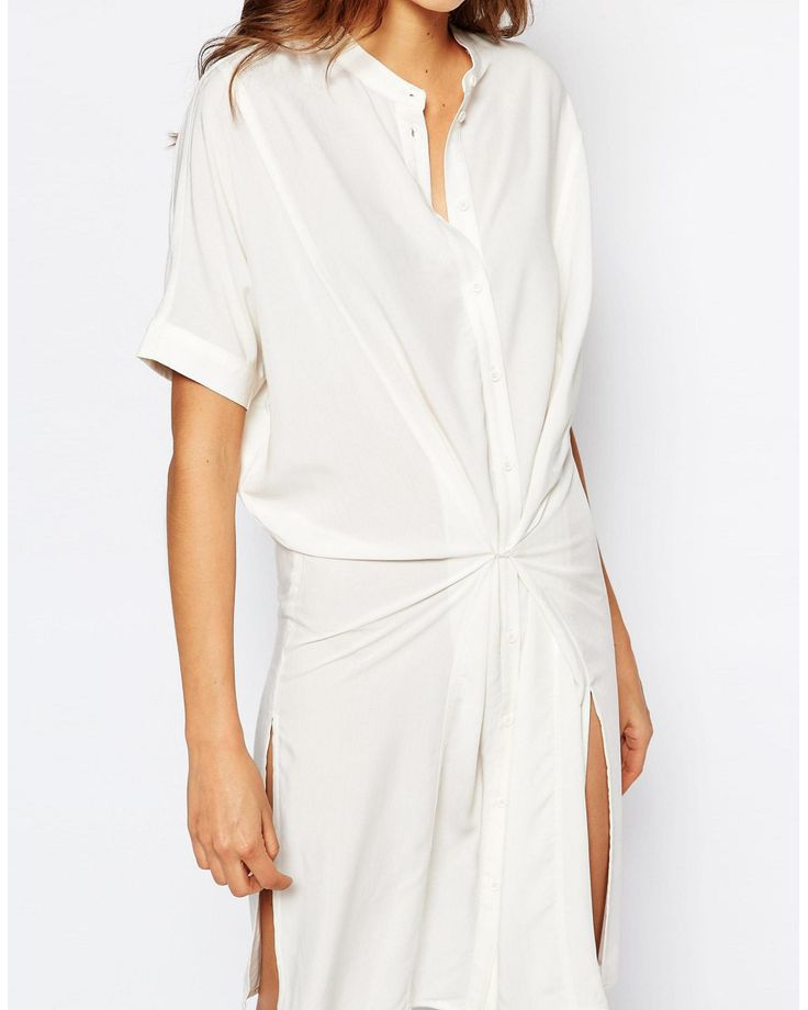 Vila | White Collarless Shirt Dress With Waist | Lyst