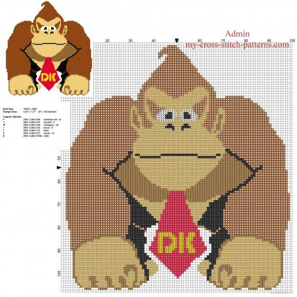 Donkey Kong Super Mario character free cross stitch pattern download (click to view)