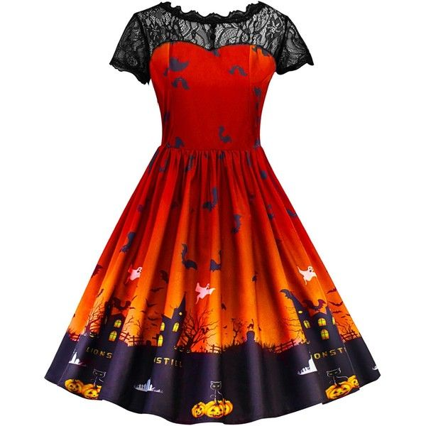 Vintage Lace Insert Halloween Pin Up Dress ($16) ❤ liked on Polyvore featuring costumes, dresses, vintage pin up costumes, pinup costume, red halloween costumes, red costume and vintage costumes