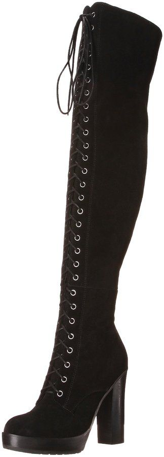 Aldo Women's ADEASIEN High Heel Laced-Up Thigh Boot, Black Suede, 8 B US