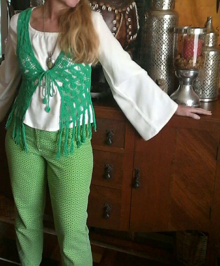 Ecofriendzy green shwe shwe pants with boho gypsy top and crocheted waistcoat