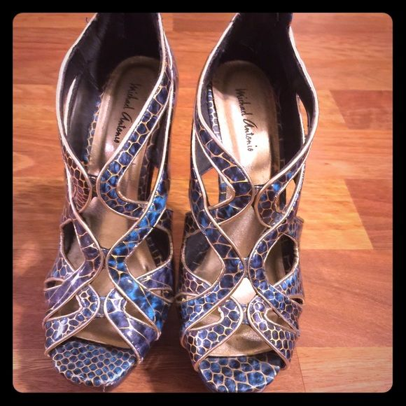 Michael Antonio Sexy Stilettos These are amazing!! Super sexy! Blue snake print, Michael Antonio one of a kinds! Never worn! Michael Antonio Shoes