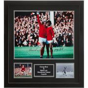 #All Star Signings George Best and Denis Law Dual Signed and Framed #In six magical seasons with United George scored 179 goals in 370 games - six in one game! George turned professional in 1963 and made his Manchester United debut against West Bromwich Albion. At the tender age of 17 he ran his experienced Welsh opponent Graham Williams ragged. As the newest Busby Babe George soon became the driving force in the United team and the catalyst that would overcome the terrible memories of the…