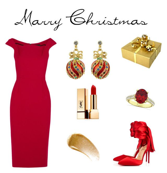 """Marry Xmas"" by polpetta-teri on Polyvore featuring Roland Mouret, BBrowBar, Yves Saint Laurent, Christian Louboutin, Allurez, Winter, Christmas and party"