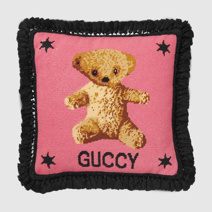 Gucci Needlepoint Cushion With Teddy Bear Teddy Bear Cross