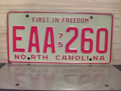 Item offered is a 1975 NC license plate in VG or better condition. plate can be used on any 1975 vehicle for Year of Manufacture purposes in North Carolina.  Price includes standard shipping in the U.S. Easy payment with Paypal for same day shipping for purchases completed before 12 Noon Eastern Time. Be sure to check my other items in my webstore and more items in the marketplace powered by eCrater! This license plate is sold for collectible and display purposes only!