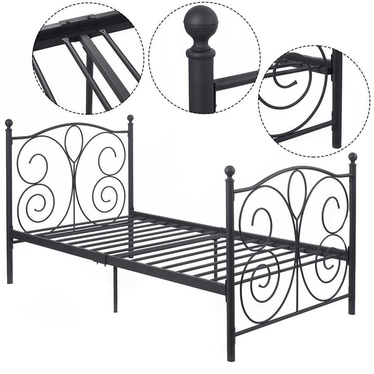 Costway Black Steel Twin Size Bed Frame Platform Foundation Furniture (83''x43''x42'')