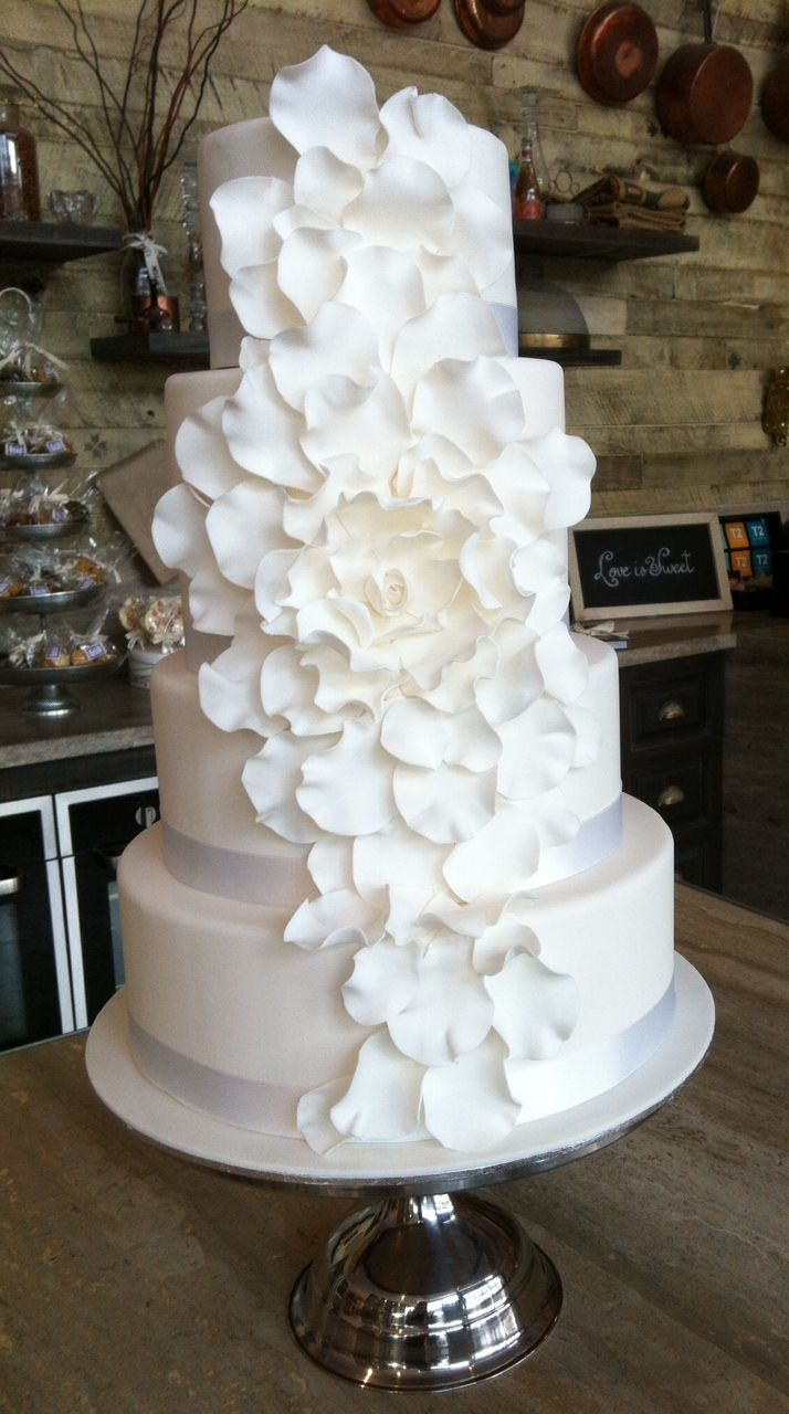 A sugar flower wedding cake we made for one of our weddings #weddingcake #dessert #bridal