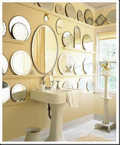 mirror mirror on the wall!: Vintage Mirror, Idea, Mirror Mirror, Small Bathroom, Collection Display, Wall Of Mirror, Bathroom Mirror, Mirrormirror, Mirror Wall