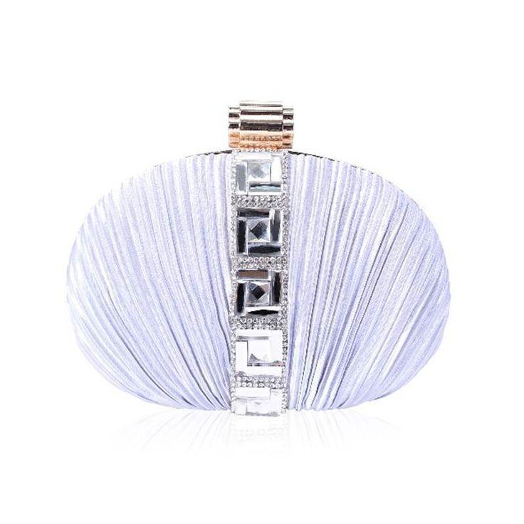 Silver Crepe Satin Oval Hard Clutch Bag Diamante Vintage  Faye London