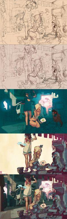 illustration steps by Sergi Brosa