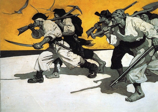 end papers for Treasure Island, N.C. Wyeth