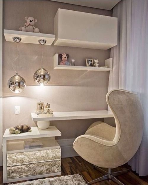 #Bedroom #Desk #WorkSpace #White #Beige #Lamps #Chair  #Drapes #Dramatic - Architecture and Home Decor - Bedroom - Bathroom - Kitchen And Living Room Interior Design Decorating Ideas - #architecture #design #interiordesign #homedesign #architect #architectural #homedecor #realestate #contemporaryart #inspiration #creative #decor #decoration