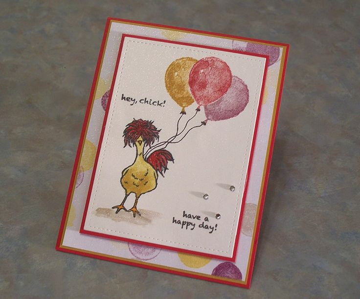 I made this card for my sister, I think she'll love it as much as I do!  The MISTI makes stamping the images, even the balloons a dream. I very rarely get a really clean, dark stamped image the first time, so it's a God send for me.  I used an empty Wink of Stella marker and filled it with alcohol. Using some reinkers, I colored the chick on shimmery white paper....she's too cute!