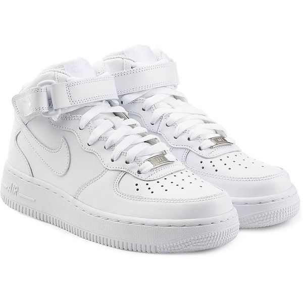 Nike Airforce 1 Suede High Top Sneakers (£89) ❤ liked on Polyvore featuring shoes, sneakers, nike, chaussures, white, suede shoes, white sneakers, high-top sneakers, white hi top sneakers and suede high top sneakers