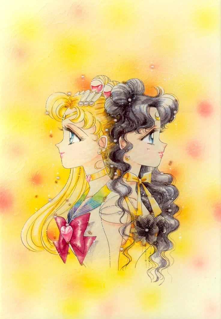 """美少女戦士セーラームーン原画集 Sailor Moon Original Picture Collection Vol.3 - """"For me, these two are two with a very closely similar existence. These two are defined in The Lover of Princess Kaguya, which is not to say they always act together and reveal their true feelings, but they understand each other. Even if they were to change places with each other, they surely would have taken the same actions with the same feelings. That's why the color of their eyes is the same blue."""" by Naoko Takeuchi"""