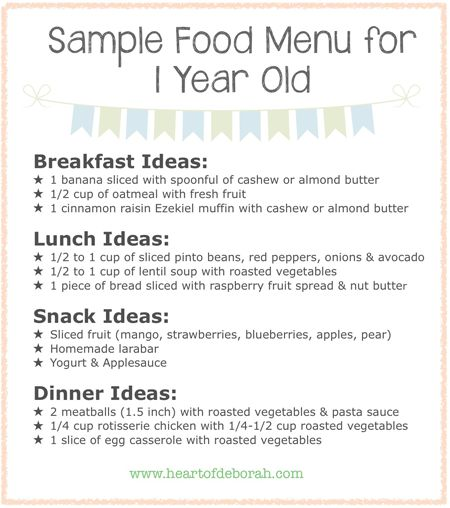 Do you ever wonder if your child is eating enough? Here is a sample menu for one year old children. Also included is a typical day schedule.