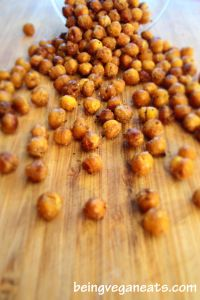 chick pea snacks.  drain, rinse, pat dry canned chick peas. season with olive oil, salt ,pepper, onion powder, garlic powder or other various seasonings. bake at 400 degrees for 40-50 minutes.