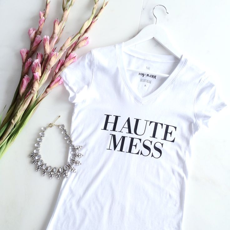 INVENTORY ALERT 💕 We only have a few left of our Haute Mess tee in both colours. Shop today and get yours shipped for free with code FREESHIP.  Shop all things pretty with link in profile. #ShopTTKB #WeDoPretty