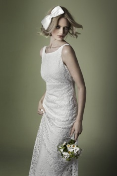 1960s style corded lace dress with boat neck...based on Creative Director Charlie's original 1960s wedding dress