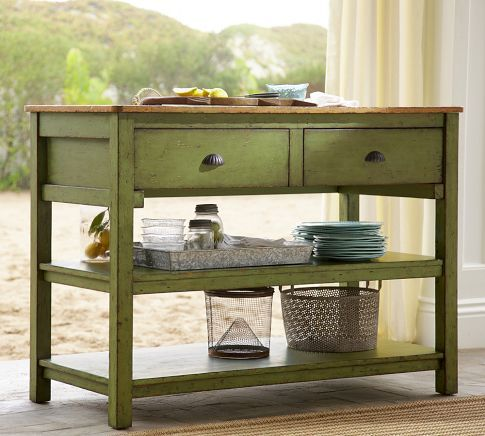 love the paint and the primitive styling. 2x2s anyone? Jocelyn Console Table | Pottery Barn