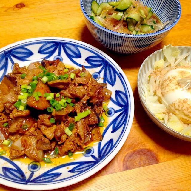 豚肉と茄子の甘味噌炒め、キュウリと紫タマネギのサラダ、冷奴 - 10件のもぐもぐ - 中華っぽい感じの晩ごはん by lottarosie