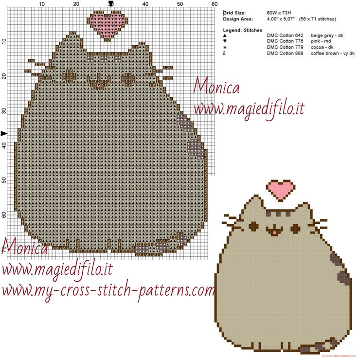 Pusheen cross stitch pattern