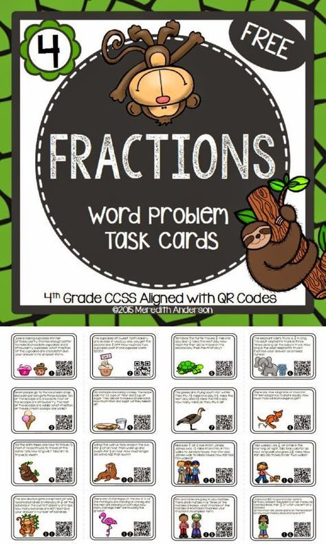 FREE Fraction Task Cards! QR code math activity can be used at math centers, as a whole class activity (scoot), or in interactive math notebooks!