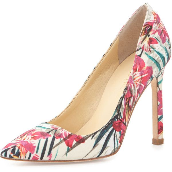 Ivanka Trump Carra Floral-Print Pointed-Toe Pump ($87) ❤ liked on