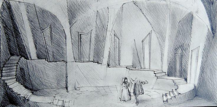 Le sei mogli di Barbablù / Bozzetto (matite su carta) • GianVincenzo Gatti