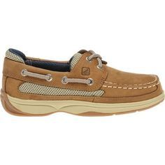 The Sperry Men's Billfish Boat Shoes feature leather uppers and nonmarking rubber outsoles.