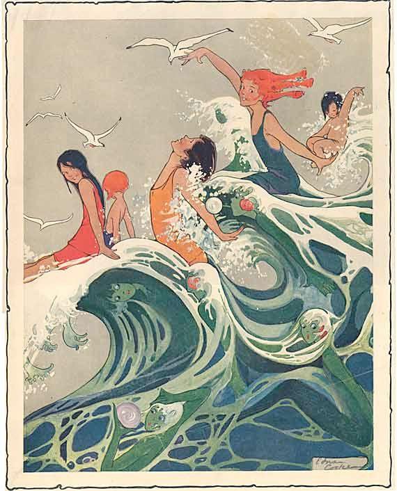 1910, Mulleres sobre as ondas. Vintage