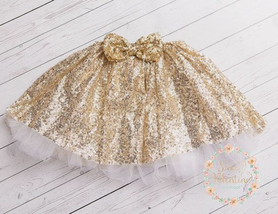 Girls gold skirt Girls gold Sequin Tutugold by SweetValentina