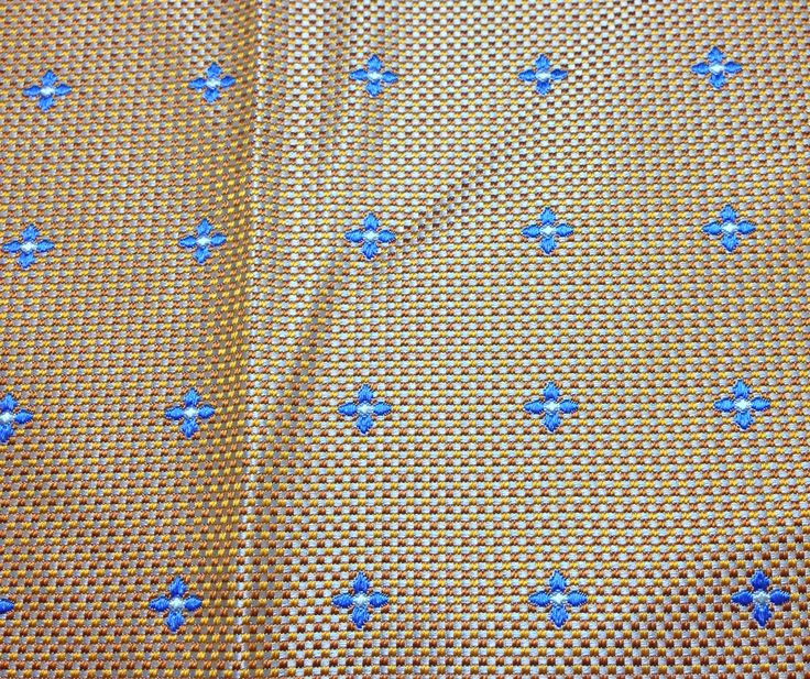 """Gold with Blue Flowers - Silk Brocade (9""""x14"""")"""