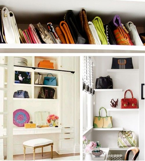 Collection of handbags/purses/clutches on floating shelves = lovely visual art
