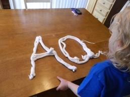 shaving cream letters