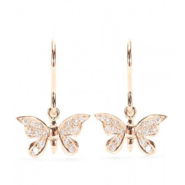 Cada 18kt Red Gold Butterfly Pendant Earrings With White Diamonds ($2,242) ❤ liked on Polyvore