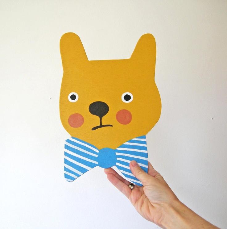 Painted bear with bow tie.Bowties Bears, Crafts Ideas, Bows Ties, Etsy, Bow Ties, Marta Martín, Martín Hueto, Painting Bears, Yellow Bears