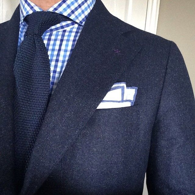 Navy Jacket and White Blue Tattersall Shirt
