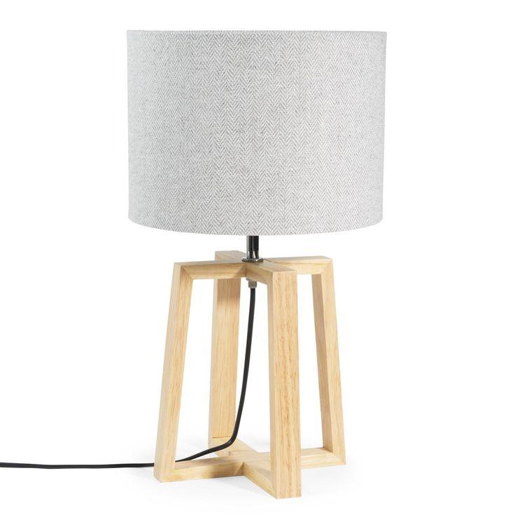 Lampada in legno e tessuto grigio H 44 cm HEDMARK   Maisons du Monde