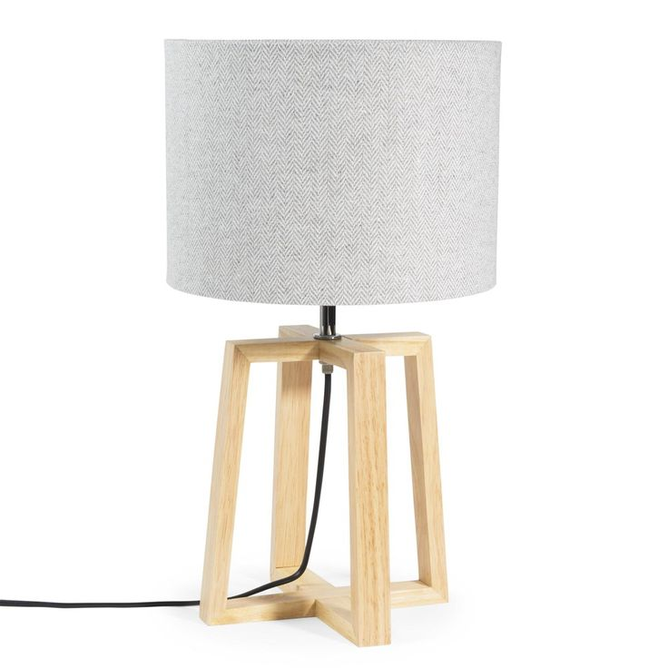 Lampe en bois et tissu gris H 44 cm HEDMARK 29,99 €