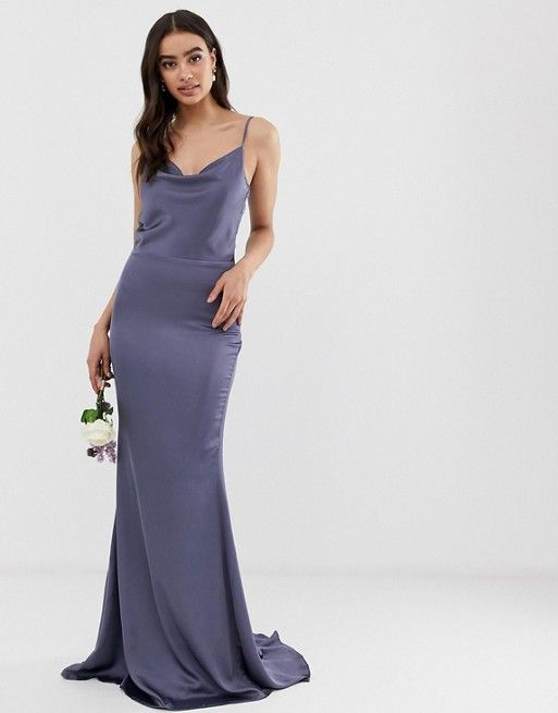53ab038a60 Missguided satin cowl neck maxi dress in blue in 2019
