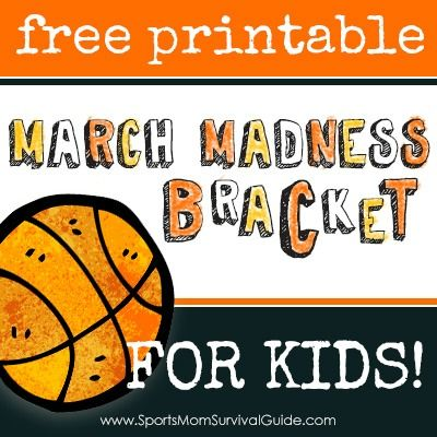 Free printable MARCH MADNESS BRACKET for KIDS!  #basketball #NCAA #MarchMadness