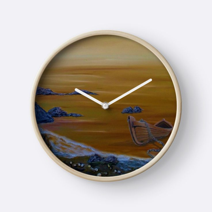 Wall Clock, artistic,decorative,items,boat,sunset,orange,golden,seascape,modern,beautiful,awesome,cool,home,office,wall,decor,decoration,ideas,for sale,redbubble