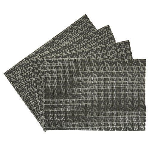 Oasis Vinyl Placemat, Grey, Set of 4 by Benson Mills. $12.67. Available in additional colors. Indoor or outdoor use. Perfect for everyday use. Wipe clean with a damp cloth. Made of 100-Percent vinyl. Dress up your dinner table with these durable, high quality, and very easy to clean woven vinyl placemats.