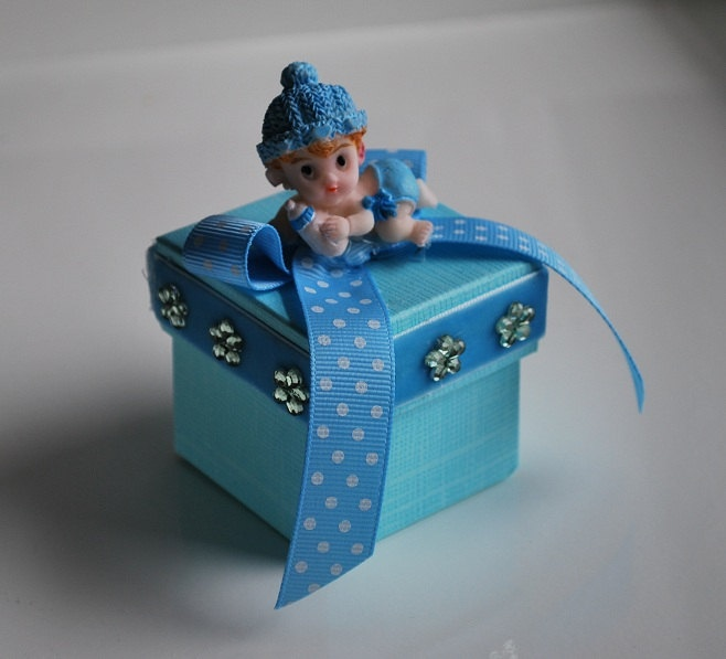 Blue Baby Shower Favor Box with Crawling Baby. $2.50, via Etsy.