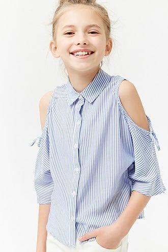 309054ac7561aa Girls Striped Open-Shoulder Shirt (Kids)