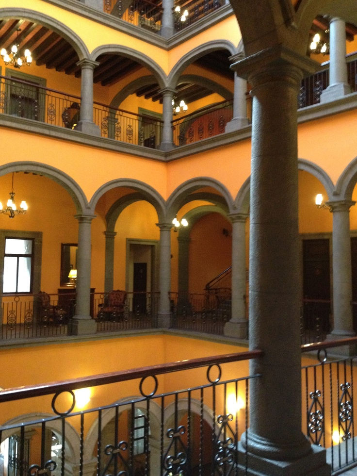 Peaceful courtyard of our Hotel Morales in Historico central, Guadalajara. Highly recommended for location, service and value.
