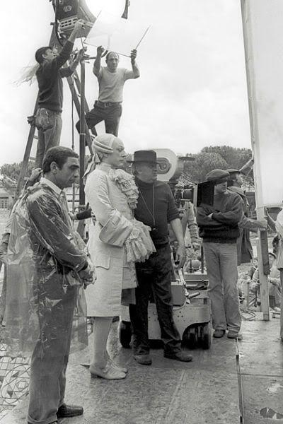"Tournage de ""Casanova"", de Federico Fellini. 1976."